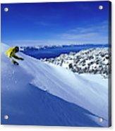 One Man Skiing In Powder High Acrylic Print