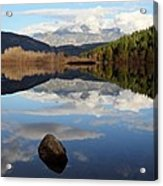 One Mile Lake One Rock Reflection Pemberton B.c Canada Acrylic Print