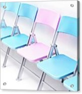 One Pink Chair In A Row Of Blue Chairs Acrylic Print