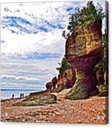 One Side Of Flowerpots At Hopewell Rocks-new Brunswick  Acrylic Print