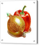 Onion And Red Pepper Acrylic Print