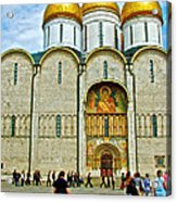 Onion Domes On Cathedral Of The Assumption Inside Kremlin In Moscow-russia Acrylic Print