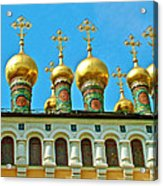 Onion Domes On Churches Of The Nativity And Deposition Of The Robe Inside Kreml Acrylic Print