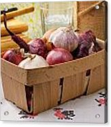 Onions And Garlic In A Crate Acrylic Print