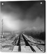 Onward - Railroad Tracks - Fog Acrylic Print