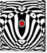 Op Art Geometric Black White Red  Abstract No.383. Acrylic Print by Drinka Mercep