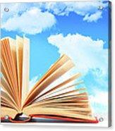 Open Book Against A Blue Sky Acrylic Print