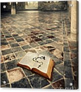 Open Book And Roasary On The Floor Acrylic Print