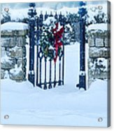 Open Gate In Snow With Wreath Acrylic Print