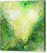 Open Heart Green Abstract Urban Heart Painting Acrylic Print