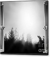 Open Window At Night Bw Acrylic Print