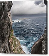 A Natural Window In Minorca North Coast Discover Us An Impressive View Of Sea And Sky - Open Window Acrylic Print