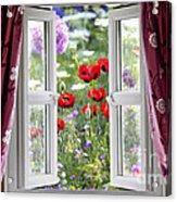 Open Window View Onto Wild Flower Garden Acrylic Print