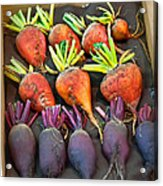 Orange And Purple Beet Vegetables In Wood Box Art Prints Acrylic Print