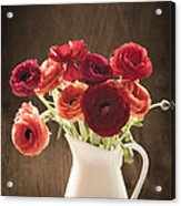 Orange And Red Ranunculus Flowers Acrylic Print