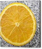 Orange Cut In Half Grey Background Acrylic Print