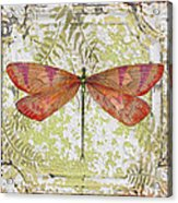 Orange Dragonfly On Vintage Tin Acrylic Print