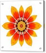 Orange Gazania I Flower Mandala White Acrylic Print