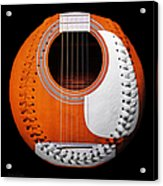 Orange Guitar Baseball White Laces Square Acrylic Print
