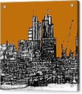 Dark Ink With Bright Orange London Skies Acrylic Print