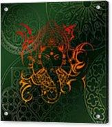 orange Lord Ganesha on green Mandala Acrylic Print