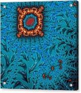 Orange On Blue Abstract Acrylic Print