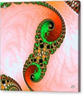 Orange Red And Green Abstract Fractal Art Acrylic Print