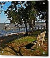 Orange Street Pier Bench Acrylic Print