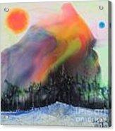 Orange Sun Blue Moon And Snow Acrylic Print