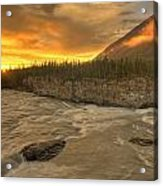 Orange Sunset On Sluice Box Rapids Acrylic Print