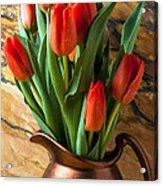 Orange Tulips In Copper Pitcher Acrylic Print