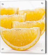 Orange Wedges On White Background Acrylic Print by Colin and Linda McKie