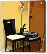 Orchid By A Chair Acrylic Print