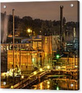 Oregon City Electricity Power Plant At Night Acrylic Print
