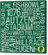 Oregon College Colors Subway Art Acrylic Print by Replay Photos