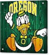 Oregon Ducks Barn Door Acrylic Print