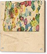 Oregon Map Vintage Watercolor Acrylic Print