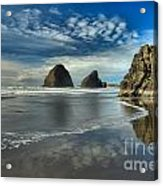Oregon Sea Stack Surf Acrylic Print by Adam Jewell