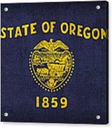 Oregon State Flag Art On Worn Canvas Acrylic Print