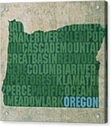 Oregon Word Art State Map On Canvas Acrylic Print