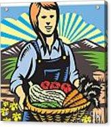 Organic Farmer Farm Produce Harvest Retro Acrylic Print by Aloysius Patrimonio