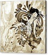 Oriental Beauty Sepia Tone Acrylic Print