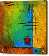 Original Abstract Painting Digital Conversion For Textured Effect Resonating IIi By Madart Acrylic Print