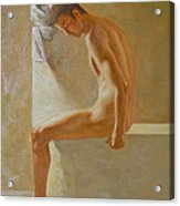 Original Classic Oil Painting Body Man Art- Male Nude In The Bathroom#16-2-3-01 Acrylic Print