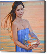 Original Classic Oil Painting Girl Art- Chinese Beautiful Girl And Goldfish Acrylic Print