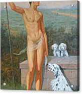 Original Classic Oil Painting Man Body Art-male Nude And Dogs #16-2-4-11 Acrylic Print