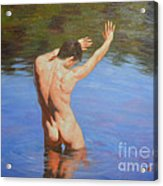Original Classic Oil Painting Man Body Art-male Nude Standing In The Pool #16-2-4-05 Acrylic Print