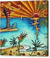 Original Coastal Surfing Whimsical Fun Painting Tropical Serenity By Madart Acrylic Print