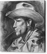 Original Drawing Sketch Charcoal Chalk  Gay Man Portrait Of Cowboy Art Pencil On Paper By Hongtao  Acrylic Print