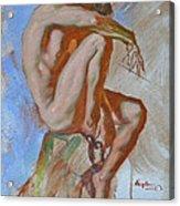 Original Impression Oil Painting Gay Man Body Art Male Nude -189 Acrylic Print